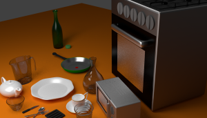 kitchen items in cycles 3D Model Screenshot / Render