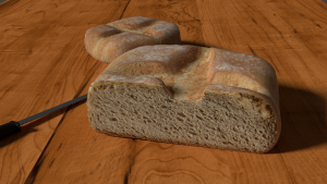 Bread with knife 3D Model Screenshot / Render