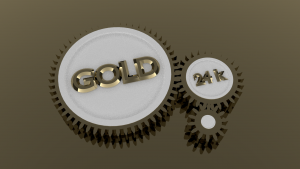 24k gold gears 3D Model Screenshot / Render