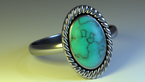 Silver and turquoise ring 3D Model Screenshot / Render