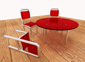 Table and 3 chairs 3D Model Screenshot / Render