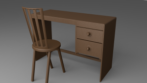 Table and a Chair 3D Model Screenshot / Render